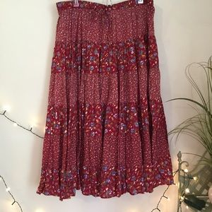 ORVIS Red Floral Tiered Prairie Skirt - BOHO